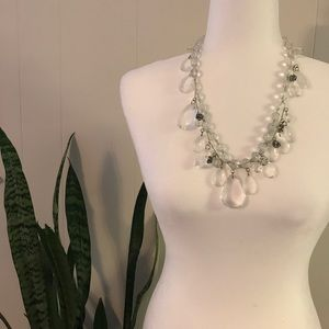 Ann Taylor Loft Clear Beaded Statement Necklace